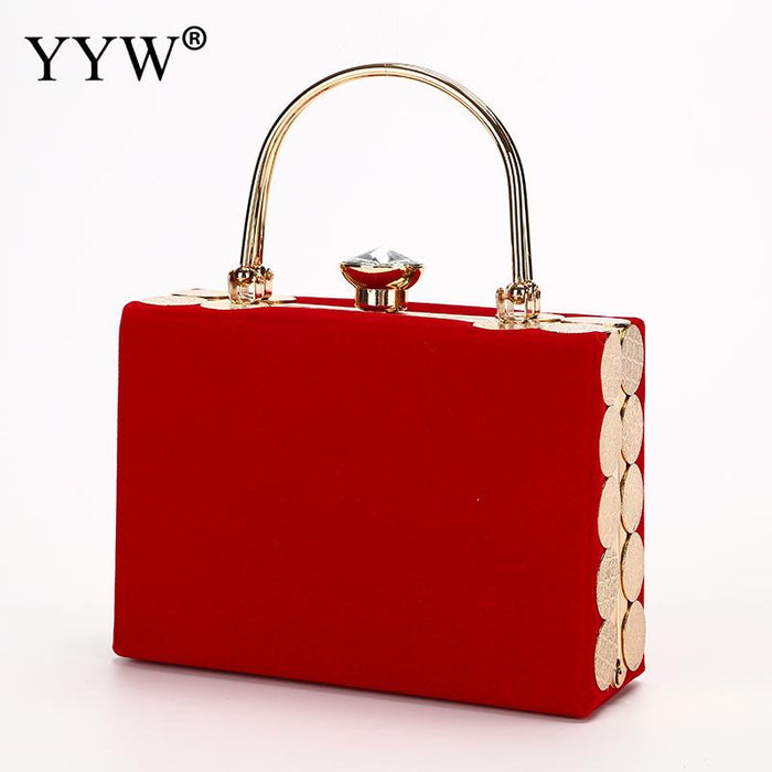 Velour Handbag Women Red Box Bag Fashion Wedding Party Evening Handbag Women Bags Black Top Handle Hand Bag Torebki Damskie