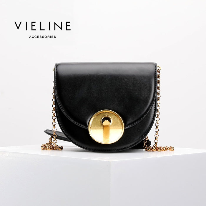 Vieline  women genuine leather leather Half Moon crossbody bag ,  real leather Chains shoulder bag,