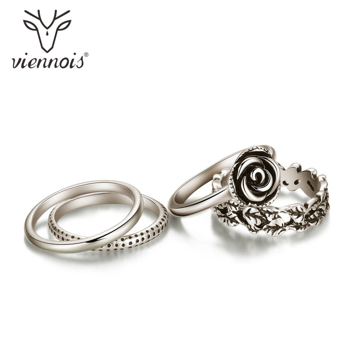 Viennois Four Stack Rings For women Antique Silver Color Finger Rings Cocktail Party Jewelry