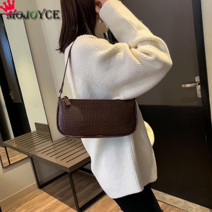 Vintage Alligator Pattern Crossbody Bags For Women Casual Mini Candy Color Messenger Bag For Girls Flap Pu Leather Shoulder Bags