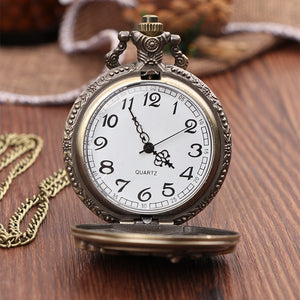 Vintage Antique Carving Motorcycle Steampunk Quartz Pocket Watch Retro Bronze Women Men Necklace Pendant Clock with Chain Toy