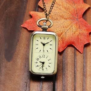 Vintage Bronze Dual Double Time Zone Rectangle Pocket Watch Quartz Movement Women Ladies Dress Watches Necklace Gift P11