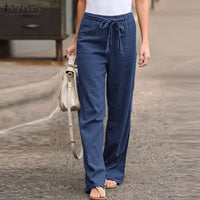 Vintage Causal Cropped Pants Women's Trousers 2019 ZANZEA Straight Elastic Waist Turnip Long Pantalon Woman Palazzo Plus Size