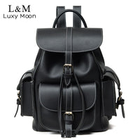 Vintage Drawstring Backpack Women High Quality PU Leather Backpacks Sac a Dos Black 2019 Shoulder Bag Female School Bags XA1179H