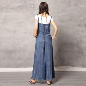 Vintage Jumpsuit Women 2019 Boho New Women Spaghetti Strap Bodysuit Denim Summer Embroidery Wide Leg Jumpsuits K306DZ Bodysuits