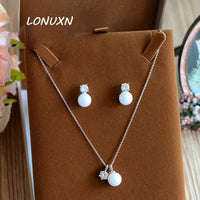 Vintage Luxurious CZ Stones High quality shiny two-piece set Love bride jewelry sets Pearl Necklace + Earrings Wedding Bridal