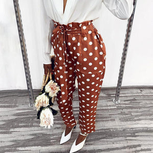 Vintage Polka Dot Harem Pants Autumn Women Drawstring Pleated Casual Pants Ladies Fashion High Waist Belted Harem Trousers D30