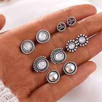Vintage Round Crystal Stud Earrings Set For Women 2018 Brincos Statement Antique Silver Earrings Fashion Female Party Jewelry