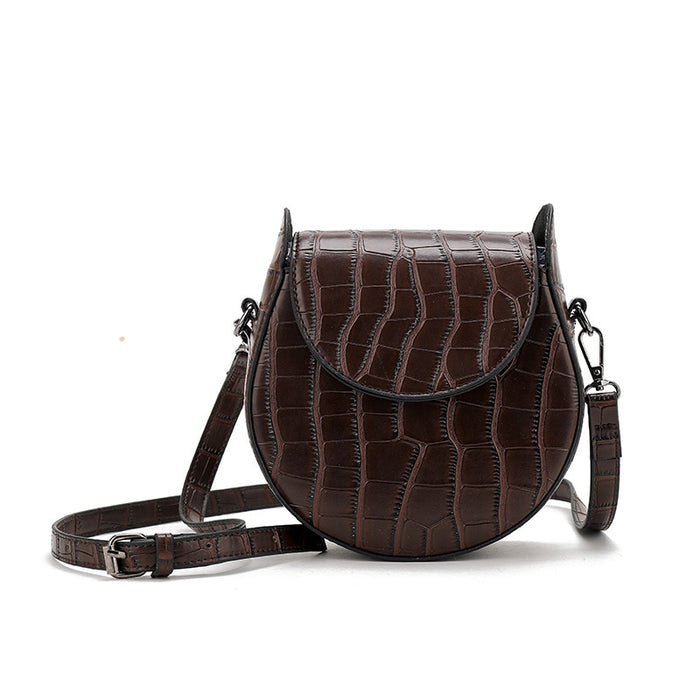 Vintage Saddle Messenger Bag for Woman 2019 New Crocodile Simple Female Shoulder Bag Korean Fashion Small Round Crossbody Bag