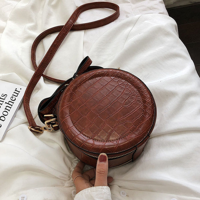Vintage  Stone Pattern PU Leather Round Crossbody Bags For Women 2019 New Small Purses and Handbags Ladies Travel Shoulder Bag