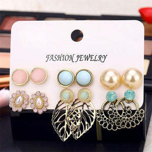 Vintage Stud Earrings Set Mixed for Women Bohemian Gold Color Leaf Flower Stone Statement Hang Brincos Jewelry Wholesale