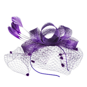 Vintage Women Fascinator Cambric Cocktail Hat Hairband Veiling Headband Lady Wedding Party Headdress Hair Accessoies New
