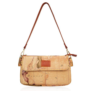 Vintage World Map Pouchy Women Bag Purse for Women Brand Design Messenger Bags for Ladies Retro Handbags with 2 Straps