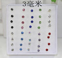 WLP 8 10 20 pairs/set crystal Stud Earrings colorful fashion earring for women jewelry silver color piercing 2.5/3/4/5