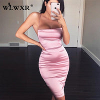 WLWXR Sexy Bodycon Mini Satin Dress Halter Backless Solid Pink Bandage Wrap Summer Dress Women Ladies Club Short Party Dresses