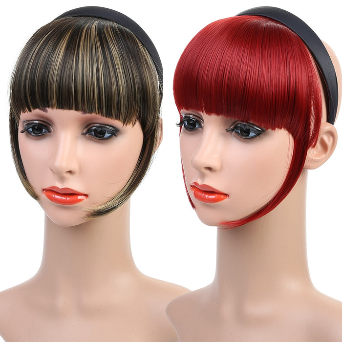 WTB  High Temperature Fiber Synthetic Hair Fringe Blunt Bangs with Headband Straight Red Hair Bangs Girl Hairband