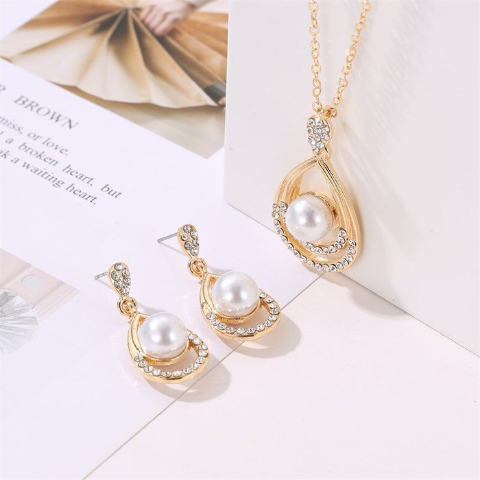 WYJZY 2-piece pearl necklace earrings jewelry set exquisite lady temperament water drop anniversary jewelry set