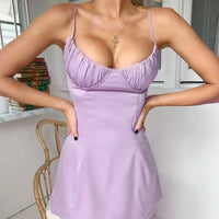 WannaThis Spaghetti Straps V Neck Silk Satin High Waist Dress 2019 Summer Backless Elegant Sexy Casual Party Club Dresses