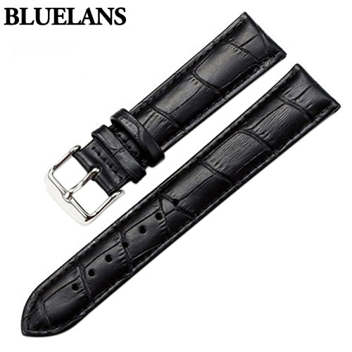 Watch Band Women Men Unisex Faux Leather Watch Strap Buckle Band Watch Belts Black Brown White 18mm 20mm 22mm Watchband