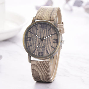 Watch Digital Alarm Faux Chronograph Plated Classic Vintage Wood Grain Watches Fashion Women Quartz Watch Wristwatch Gift