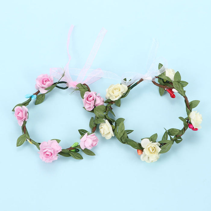 Wedding Floral Crown Head Band Kids Party Wreath Floral Garlands with Ribbon Adjustable Flower Crown Rose for Women
