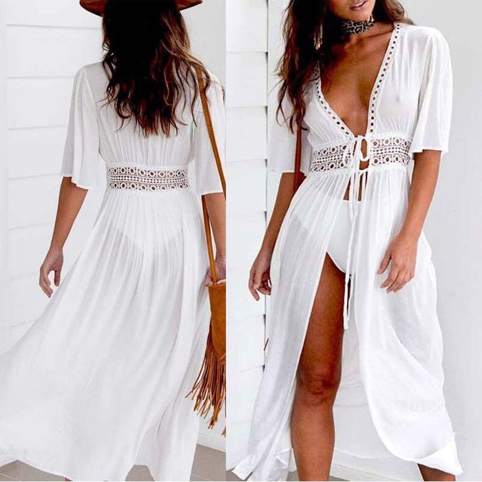 White Beach Dress 2019 New Summer Sexy Sun Dresses Women Strand Jurkjes Lace Up A-line Vestido Playa Dames Jurken