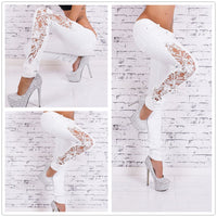 White Jeans With Lace Hollow Out Lace Stitching Full-Length Denim Slim Skinny Pencil