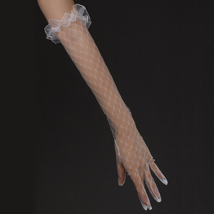 White Lace Bridal Long Gloves Elbow Length Full Finger Women Wedding Accessories