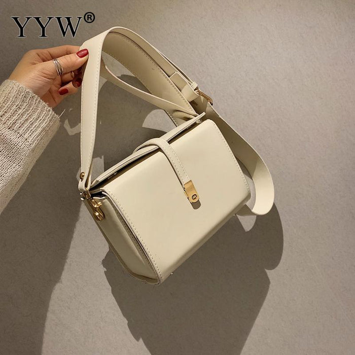 White Pu Leather Crossbody Bag For Women 2019 Pochette Femme Box Bag Women'S Shoulder Bag Zipper Black Solid Messager Bag New