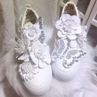 White Retro Flower Canvas Women Platform Shoes Height Increased Internal Women Pumps for Girls Lady Students Party Prom