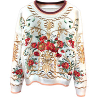High-Quality Pullover Women's luxury Floral Embroidery Autumn Winter Thick Knitting Jumper 2020