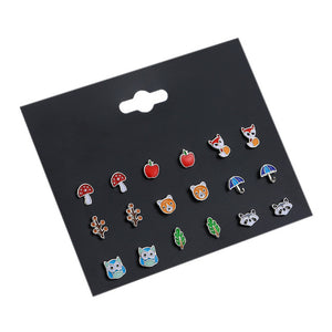 Wholesale Lovely Mix Candy Animal Small Stud Earrings Fruit Earring Set For Teen Girls Baby Kids Cute Gift Pretty Earings