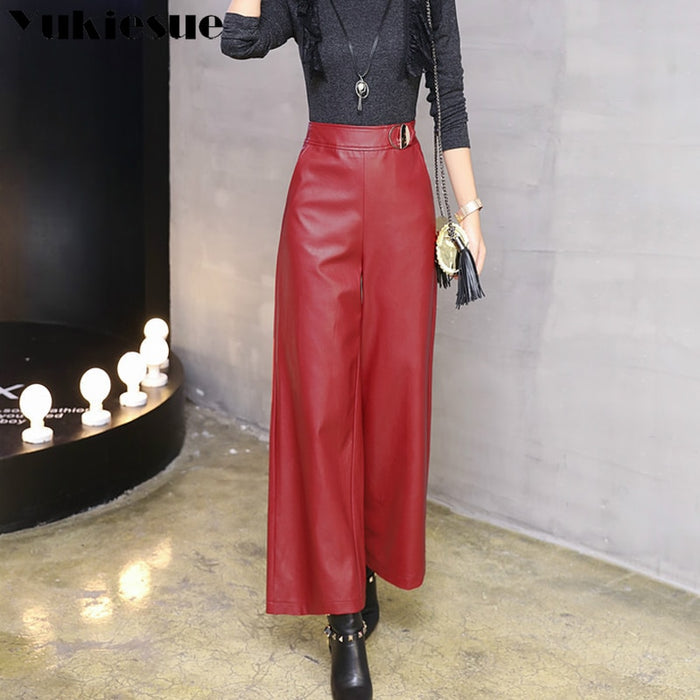 Wide leg pants capirs women winter warm leather pants female trousers office