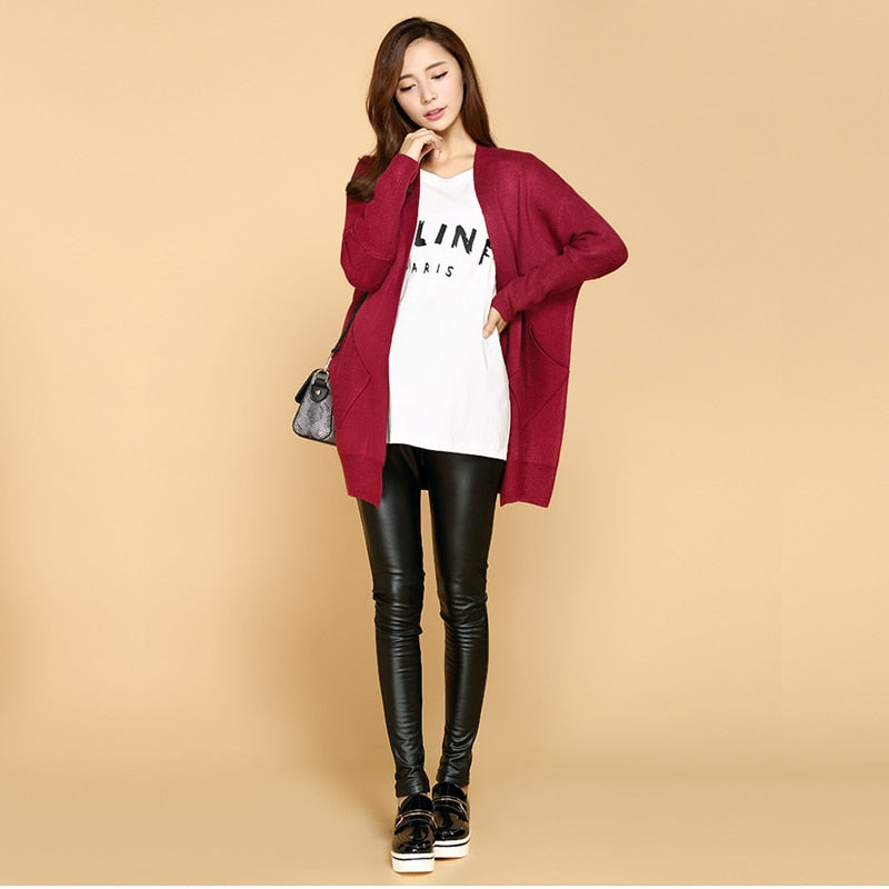 Winter Thick Maternity Pants Pu Leather Leggings Clothes For Pregnant