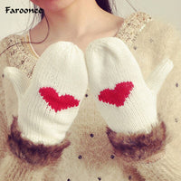 Winter Warm Knitted Gloves for Women Ladies Outdoor Bicycling Fleece Warmer