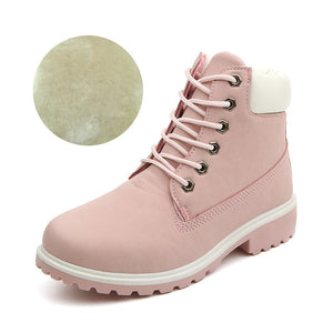 Winter boots women shoes 2019 fashion solid flats sneakers women snow boots women lace-up winter ankle boots casual shoes woman