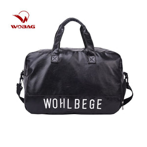 Wobag Waterproof PU Leather Men Travel Bag Fashion Casual Large-capacity Luggage Bag Women Sports Fitness Handbag