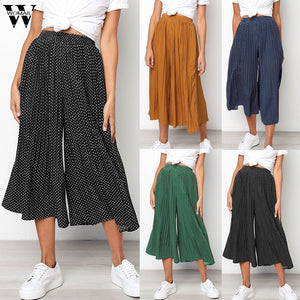 Womail Women Pants capris Autumn Dot Print Wide Leg Pants Leggings Trousers Pleateds Loose High Waist Casual Fashion holiday 93