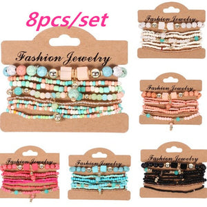 Woman Boho Multilayer Beads Charm Bracelets for Women Vintage Stone Crystal Bracelets & Bangles Pulseras Ethnic Jewelry