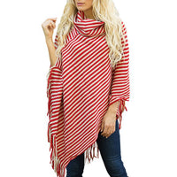 Woman Cape Poncho Winter Black White Stripes hooded poncho Ladies Capes Women Cloak Coats Fashion Cape tops Y Ponchos Damas 2018