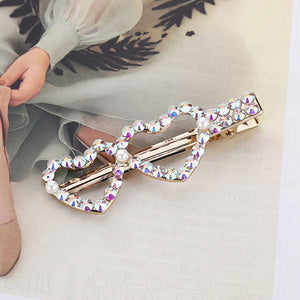 Woman Elegant Geometric Pearl Hairpins Korean Style Hair Clips Alloy