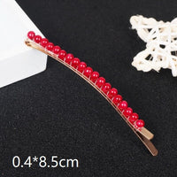 Woman Elegant Geometric Pearl Hairpins Red Color Hair Clips Alloy Barrettes