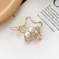 Woman Fashion Geometric Pearl Hairpins Korean Style Hair Clips Alloy