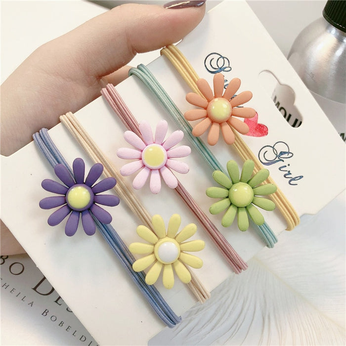 Woman Ornament Flower Hair Rope Ring For Girls  Colorful Daisy Elastic