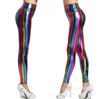 Woman Rainbow Leggings Leather Colorful Pants Pencil Trousers Women