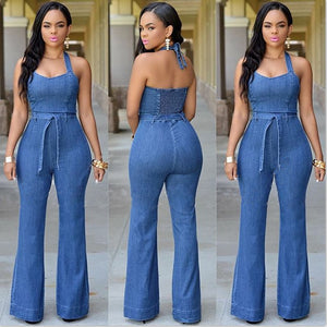 Women 2019 Fashion denim Halter Jumpsuit Backless Sexy bodysuit with Sashes clothing