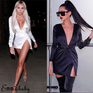 Women Autumn Long Sleeve Sexy Deep V-Neck Satin Party Mini Dress Ladies Solid Black White Knot Dresses