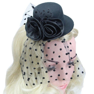 Women Baby Girls Fascinator Flower Top Hat Mesh Wave Point Veil Hair Clips Bridal Party Barrettes Cocktail Elegant Hair Clips