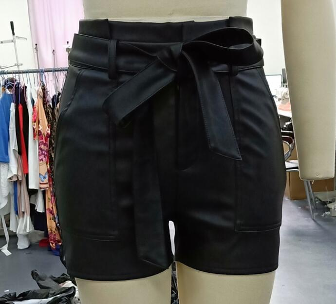 Women Black PU Leather High Waist Shirts with Belt Faux Leather Shorts High Quality Summer Loose PU Shorts