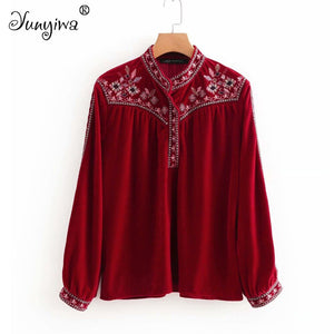 Women Blouses Shirts Loose casual red long-sleeved velvet embroidered shirt female slim shirt  Tops